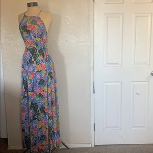 Aakaa Multicolored Floral Halter Maxi Dress size M